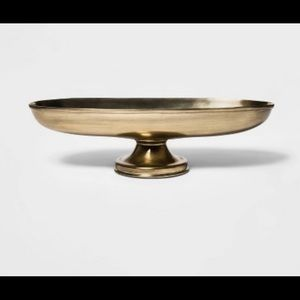 "Threshold Accents - 13"" x 7.2"" Oblong Brass Footed Bowl Gold"